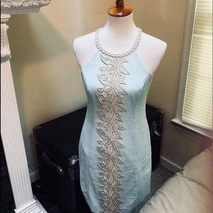Lilly Pulitzer Gold and Aqua Dress Size 4